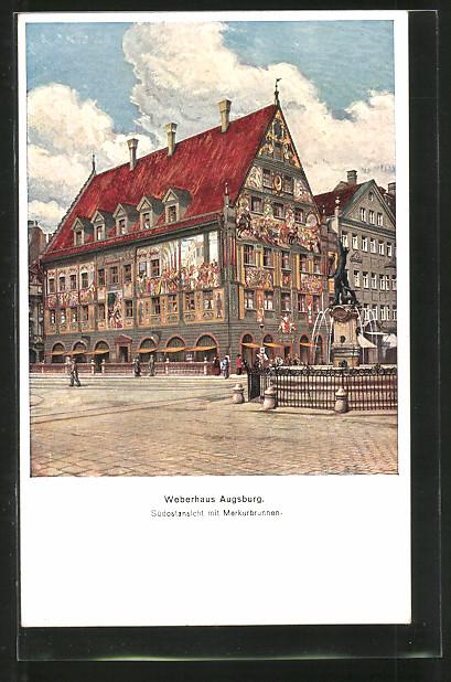 ak augsburg weberhaus s dostansicht mit merkurbrunnen nr. Black Bedroom Furniture Sets. Home Design Ideas