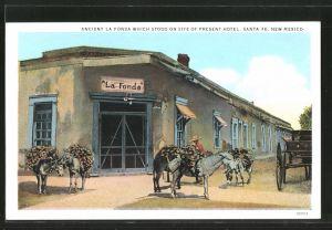 AK Santa Fe, NM, Ancient la Fonda which stood on site of present Hotel