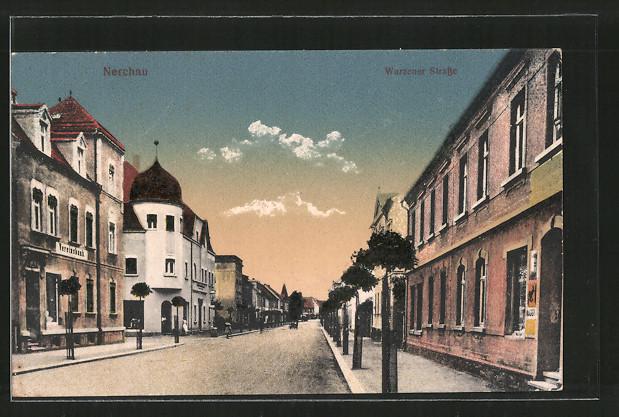 AK Nerchau, Wurzener Strasse mit Vereinsbank