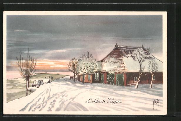 Künstler-AK Jacob Jansma: Lokkich Nijjier, verschneiter Bauernhof