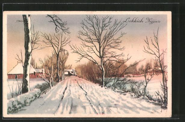 Künstler-AK Jacob Jansma: Lokkich Nijjier, verschneite Dorfstrasse