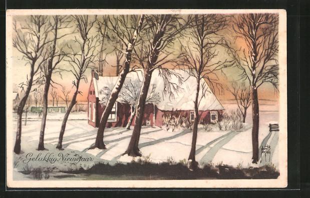 Künstler-AK Jacob Jansma: Gelukkig Nieuwjaar, verschneiter Bauernhof