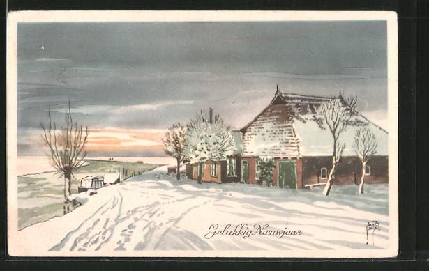 Künstler-AK Jacob Jansma: Gelukkig Nieuwjaar, verschneite Dorfstrasse mit Bauernhof