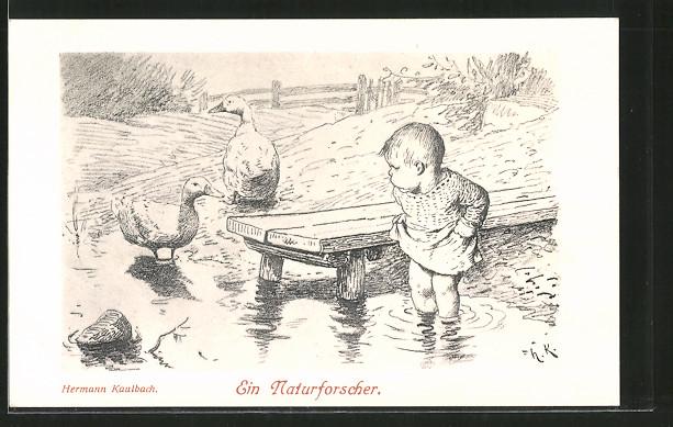 Künstler-AK Hermann Kaulbach: Ein Naturforscher, Kleinkind mit Ente und Gans am Teich