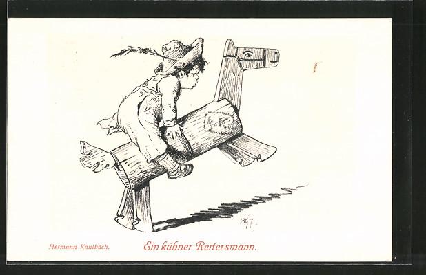 Künstler-AK Hermann Kaulbach: ein kühner Reitersmann, Junge reitet auf Holzpferd