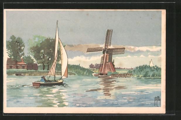 Künstler-AK Jacob Jansma: Segelboot vor Windmühle