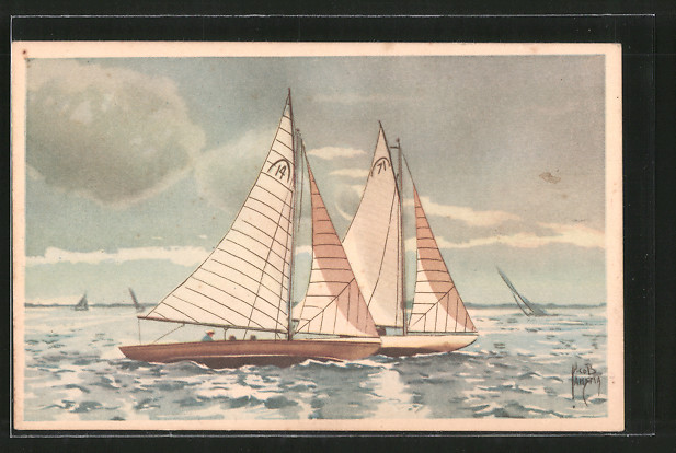 Künstler-AK Jacob Jansma: Segelboote auf hoher See