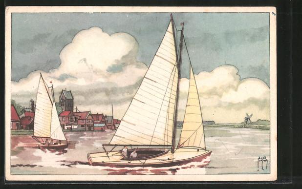 Künstler-AK Jacob Jansma: Segelboote vor der Küste mit Windmühle