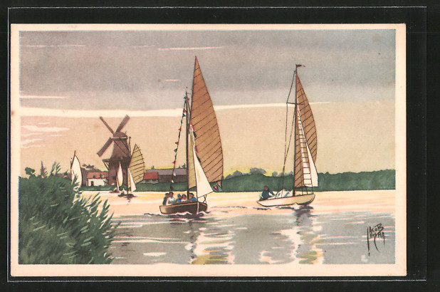 Künstler-AK Jacob Jansma: Segelboote mit Windmühle