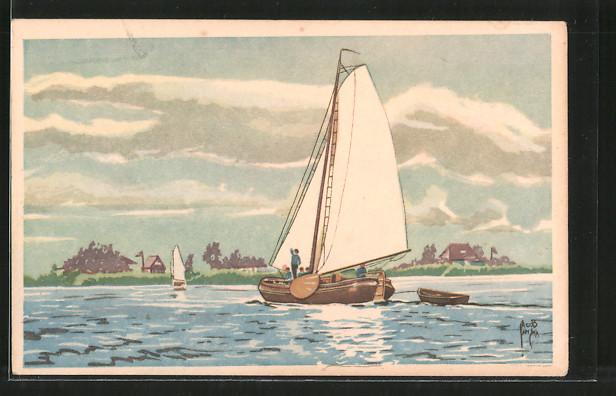 Künstler-AK Jacob Jansma: Segelboote vor der Küste