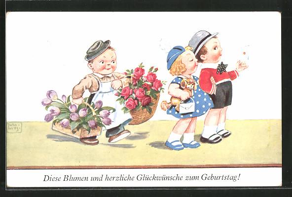 Kunstler Ak John Wills Herzlichen Gluckwunsch Zum Geburtstag