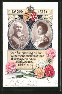 AK Erinnerung an die Silberhochzeit des Württembergischen Königspaares 8. April 1911