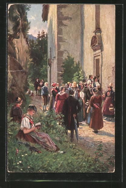 Künstler-AK Wilhelm Hasemann: Schwarzwälder in Tracht vor Wallfahrtskirche