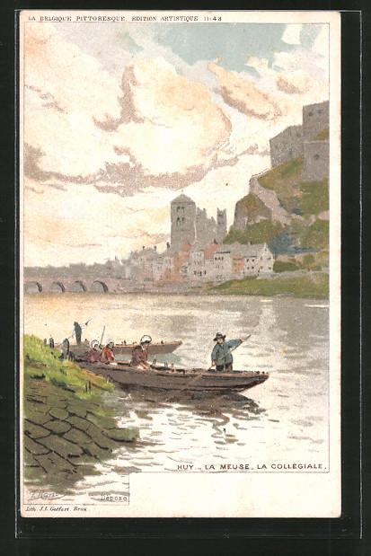 Künstler-AK F. Ranot: Huy, la Meuse, la collégiale