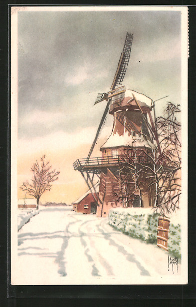 Künstler-AK Jacob Jansma: Windmühle im Winter