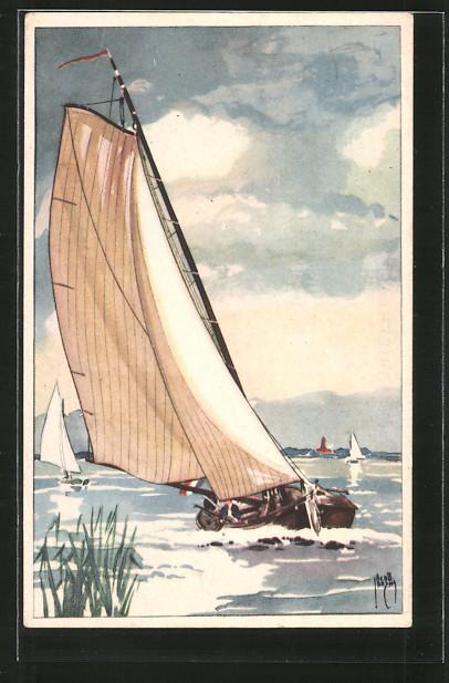 Künstler-AK Jacob Jansma: Segelboot auf See