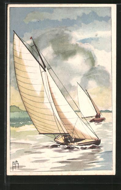 Künstler-AK Jacob Jansma: Segelboot-Regatta