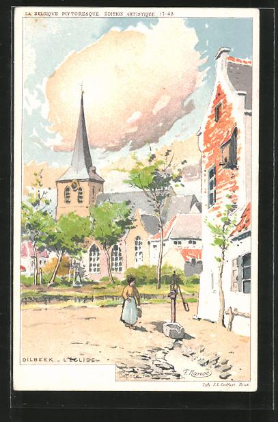Künstler-AK F. Ranot: Dilbeek, l'église