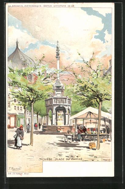 Künstler-AK F. Ranot: Liége, place du Marché