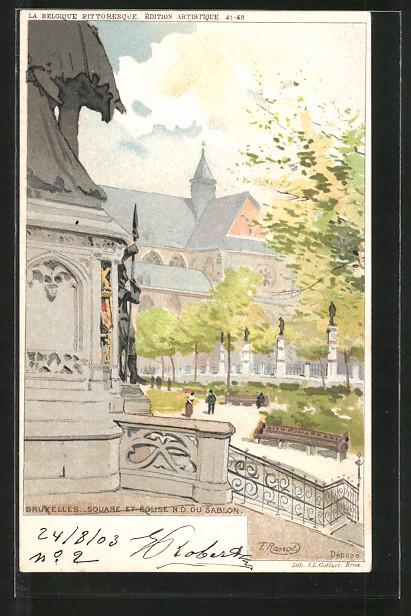 Künstler-AK F. Ranot: Bruxelles, Square et église Notre-Dame du Sablon