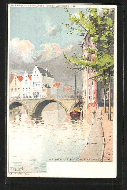 Künstler-AK F. Ranot: Malenes, le pont sur la Dyle