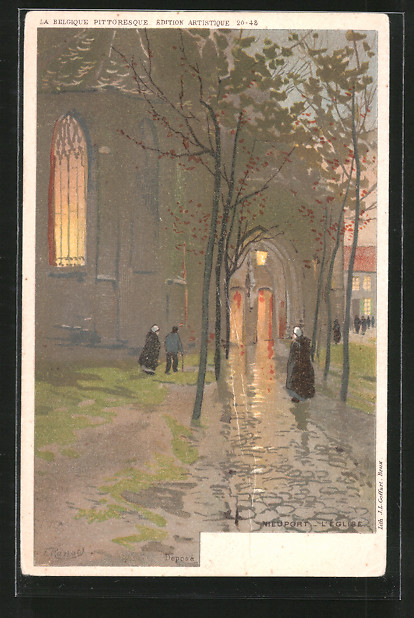 Künstler-AK F. Ranot: Nieuport, l 'église