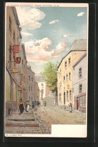 Künstler-AK F. Ranot: Arlon, escalier St. Donat