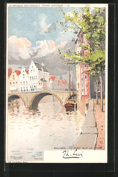 Künstler-AK F. Ranot: Malines, le pont sur la Dyle