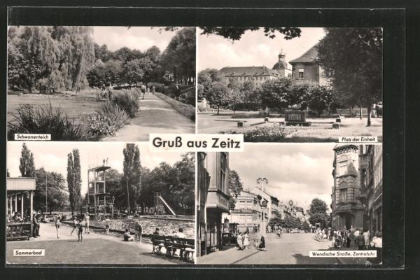 AK Zeitz, Platz der Einheit, Wendische Strasse und Sommerbad