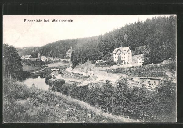 AK Wolkenstein, Bahnhof am Flossplatz
