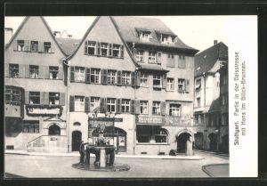AK Stuttgart, Partie in der Geisstrasse mit Hans im Glück-Brunnen