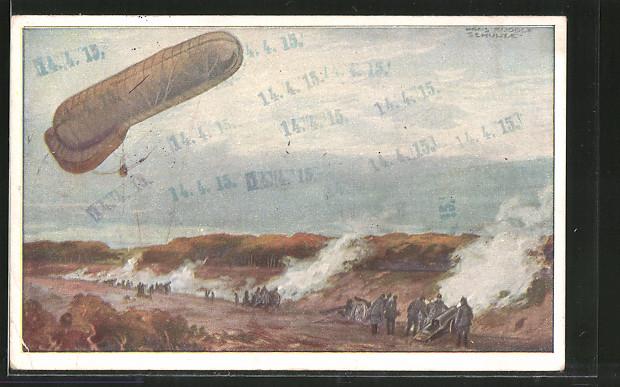 Künstler-AK Hans Rudolf Schulze: Fesselballon, unsere Artilleriewirkung beobachtend