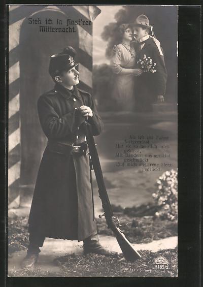 AK Steh' ich in finstrer Mitternacht, Als ich zur Fahne fort gemusst..., sächsischer Jäger mit Tschako, Montage