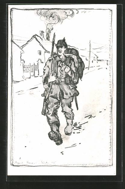 Künstler-AK Ein Flieger, Soldatenhumor, Feldgrauer mit Marschgepäck in Ortschaft