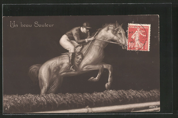 AK Un beau Sauleur, Jockey springt mit seinem Pferd über ein Hindernis, Frauen bilden einen Pferdekörper, Metamorphose