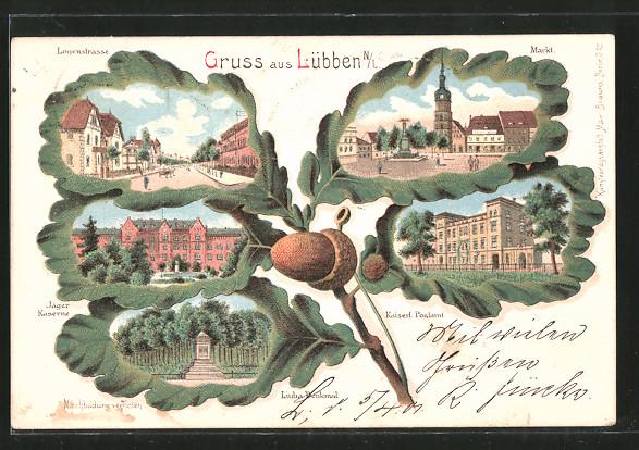 Passepartout-Lithographie Lübben, Jäger-Kaserne, Kaiserl. Postamt, Liuba-Denkmal, Eichenblatt