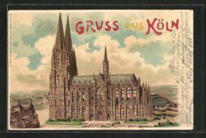 Lithographie Köln, Blick auf den Dom, Halt gegen das Licht
