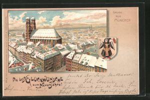 Winter-Lithographie München, Frauenkirche mit Umgebung, Wappen