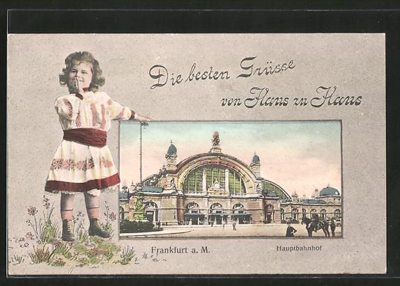 Grusskarten-AK Frankfurt, Blick zum Hauptbahnhof, Mädchen hält sich die Hand vor den Mund
