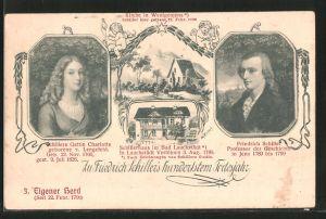 Künstler-AK Wenigenjena, 100. Todestag Friedrich Schiller, Kirche, Schillerhaus in Bad Lauchstädt, Charlotte Schiller