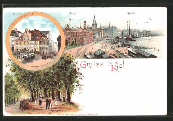 Lithographie Kiel, Töllner's Hotel, Post und Hafen, Düsternbrooker-Allee, Strassenbahn, Segelboot