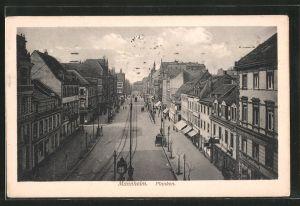 AK Mannheim, Strasse mit Planken und Geschäften