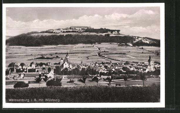 AK Weissenburg, Ortsansicht mit Blick zur Wülzburg