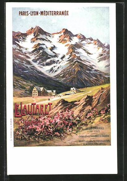 Künstler-AK Le Lautaret, Reklame für Tourismus, Blick zum Ort
