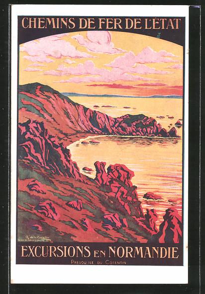 Künstler-AK Ile du Cotentin, Reklame für Tourismus, Chemins de fer de l'état, Küstenpanorama