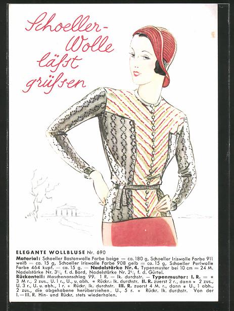 AK Reklame für Schoeller Wolle, Dame in eleganter Wollbluse