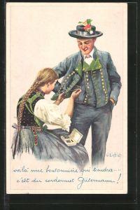 Künstler-AK Curt Liebich: Voila une boutonniére qui tiendra..., Gütermann-Nähgarn-Reklame