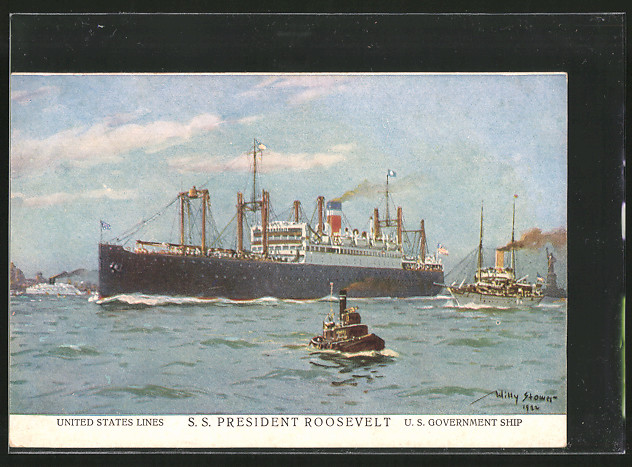 Künstler-AK Willy Stoewer: Passagierschiff SS President Roosevelt in Fahrt, US Government Ship