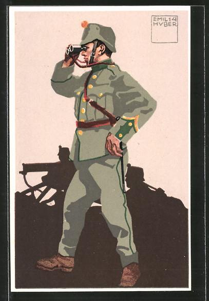 Künstler-AK sign. Emil Huber: schweizer Infanterie-Mitrailleur-Korporal in Uniform mit Fernglas, MG-Trupp