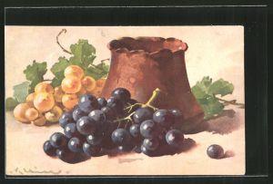 Künstler-AK Catharina Klein: Stilleben mit Weintrauben